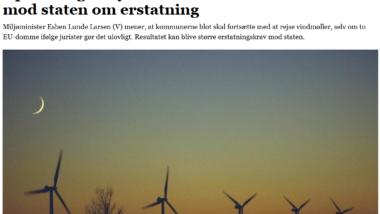 Ulovlig opstilling af vindmøller – fortsæt siger Miljøministeren
