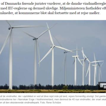 Miljøminister anbefaler kommuner at godkende vindmølleprojekter – selv om de ifølge jurister er ulovlige